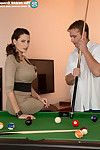 Clothed MILF Sensual Jane baring hooters after seducing man while playing pool