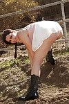 Gracious brunette bombshell Valentina Nappi having fun on a farm