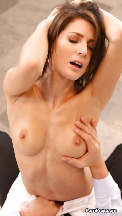 Naughty brunette hottie blows and fucks a big boner for cum on her pretty face