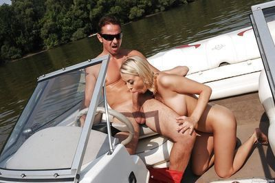 Boobsy Euro adolescent Mandy I giving major stick a dick sucking outdoors on boat