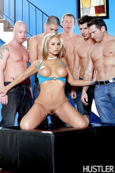 Gangbang with perverted cum-swallowing milf blonde Sara Sloane