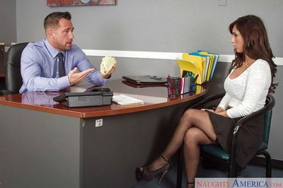 Amazing brunette Reena Sky is posing and fucking with her boss