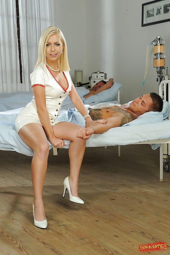 Creative nurse in sexy uniform Isabella Clark has double anal