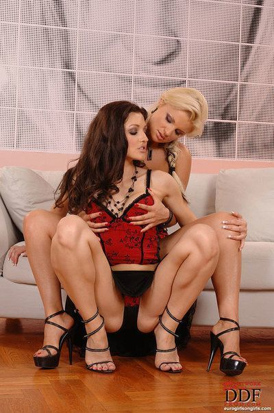 Hot european lesbians having kinky fun with a strapon and toys