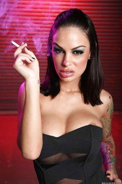 Blazing pornstar babe with big boobs Angelina Valentine gets naked