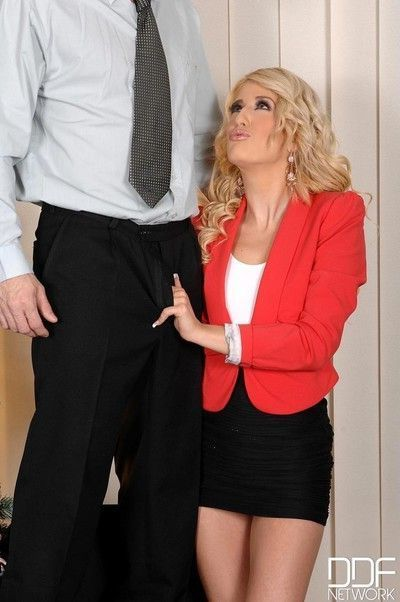 Blonde secretary sucks dick in office