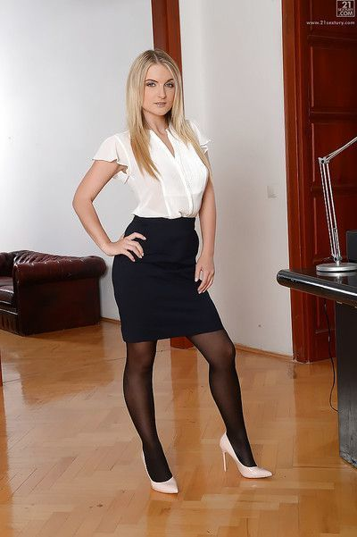 Gorgeous blond secretary Jemma Valentine letting nice tits free from blouse