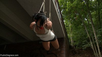 Bailey gets suspended from a bridge while people pass and stare with hot anal!