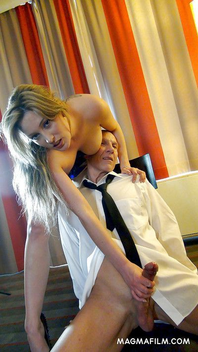 Dominant blonde mistress Ana Montana giving a blowjob and milking a rod