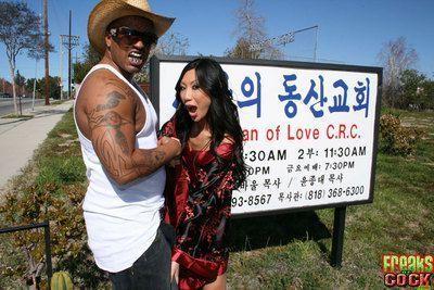 Asian MILF babe Tia Ling fucking a massive cock with bukkake