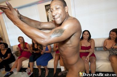 Slutty babe gets fucked by a stripper at the CFNM birthday party