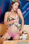 With a ring of flowers in her hair emily 18 wears the cutest sheer pink panties
