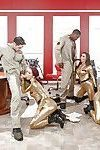 MILF pornstars swap jizz after sucking off large dicks during office orgy