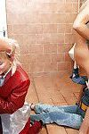 Salacious cum-hungry fetish sluts have some wild clothed pissing fun