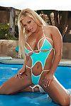 Bikini clad Shyla Stylez getting hard anal fucking after wet blowjob by pool