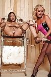 Close up femdom action featuring hot lesbians Henessy and Kathia Nobili