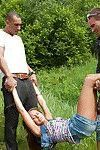 Young slut gets facialized after a hardcore groupsex with horny guys outdoor