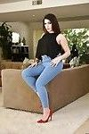 Brunette solo girl Valentina Nappi sliding jeans over big fat ass