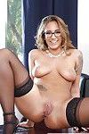Glasses wearing blond babe Layla London baring big secretary tits in office