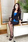 Office girl Whitney Westgate strike a pose in mini skirt and nylons
