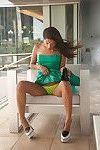 Cute amateur brunette Yesenia Corral giving us a view of her upskirt