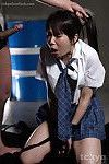 Japanese schoolgirl in bondage gagging on cock and getting rough mouthful