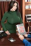 Huge titted office slut Sheridan Love gets a shaved pussy lick and a mouthful