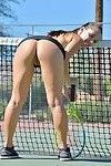Teen tennis player strips on court before inserting racket handle in cunt
