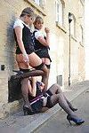 Three luscious school girls in stockings flashing boobs while smoking