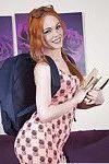 Redheaded Euro babe Ella Hughes exposing phat schoolgirl ass in glasses