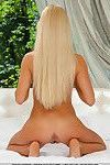 Hot blonde Xena sliding white lace panties over sexy ass and bald twat
