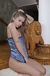 Petite skinny teen with long hair Milena D unveils her tight pink slit
