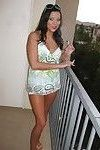 Danni Dillion smoking on the balcony and strips to her underwear