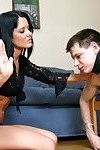 Hot brunette mistresses show their power on a fleshy sub guy