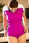 Sweet brunette getting wet in her workout outfits
