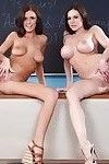 Sexy brunette sluts are having lesbian fun in the class
