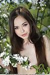Euro babe Li Moon spreading shaved teen pussy for outdoor glam pictures
