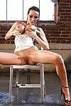 Top-heavy babe Sandee Westgate performs a sizzling wet solo scene