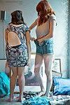 First time lesbian girls Talulah and Uma J dressing their naked bodies