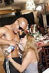 Hot horny chicks giving interracial handjob and blowjob at CFNM party
