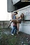 Lustful teen gets fucked and jizzed over her face and tits outdoor