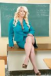 Chubby blonde Milf teacher Alura Jenson peeling off her tight skirt