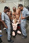 Tiny blonde slut Angel Smalls gangbanged by black maintenance crew