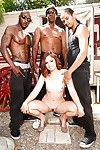 Sexy Jodi Taylor sheds shorts to spread ass for interracial gangbang outdoors
