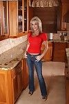 Busty mature Jordan kitchen solo by finring and posing the pussy and as