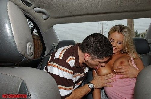 Hungry young Bree Olson gains her tit pointers licked and gives head in the car