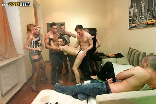 Drunk coeds take part in a untamed fuckfest with well-hung studs at the habitat all together