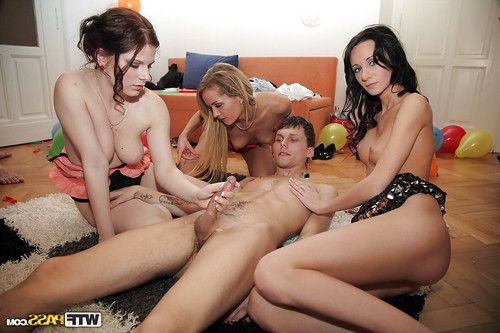 Cream lustful coeds showing off their oral-stimulation skills at the sexual act gathering