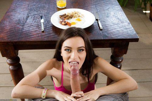 Adolescent pornstar Lana Rhoades and colossal knob engage in hardcore kitchen fucking