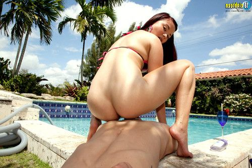 Breasty young courtesan kita zen action her cunt by the pool
